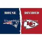 90x150cm New England Patriots flag Kansas City Chiefs house divided flag banner