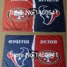 San Francisco 49ers Houston Texans House Divided Flag 3ft x 5ft Polyester
