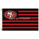 San Francisco 49ers Logo Flag With Stripes 3ftx5ft Banner 100D Polyester