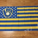 3X5FT Milwaukee Brewers Flag Stars and Stripes banner 100D Custom flag free shipping