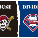 Pirates Phillies house divided flag 3' x 5' Banner metal holes