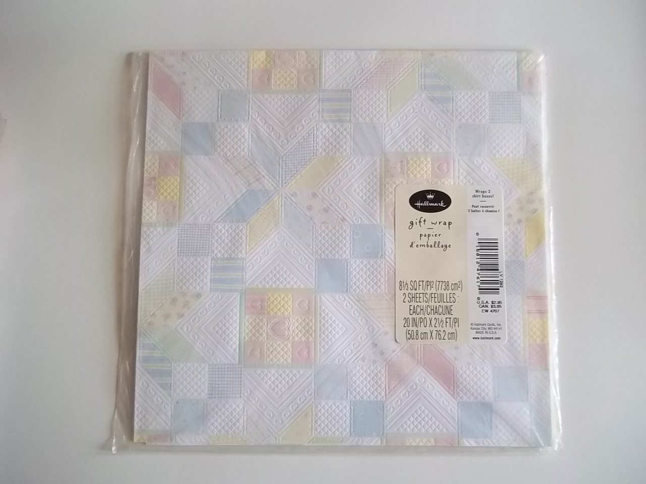 QUILTED PASTEL HALLMARK GIFT WRAP 2 SHEETS WRAPPING PAPER FREE SHIPPING ~ Ceramic Treasures