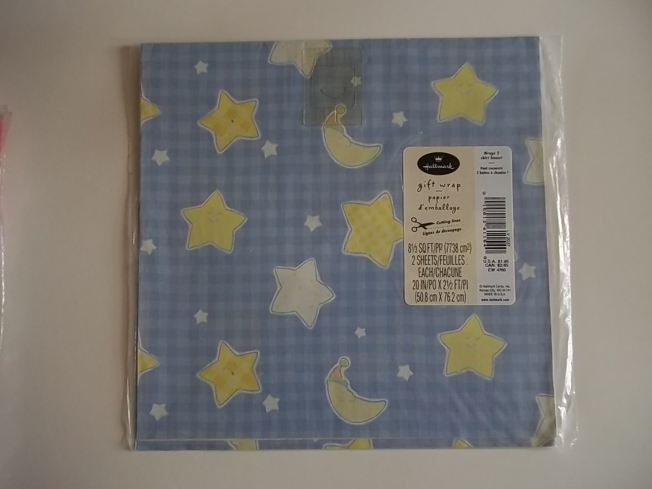 MOON & STARS HALLMARK GIFT WRAP 2 SHEETS WRAPPING PAPER FREE SHIPPING ~ Ceramic Treasures