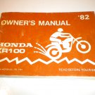 1982 Honda XR100 Owners Manual XR 100 Owner's Guide Vintage