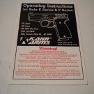 Kahr Arms K Series & P Series Operating Instructions; Original