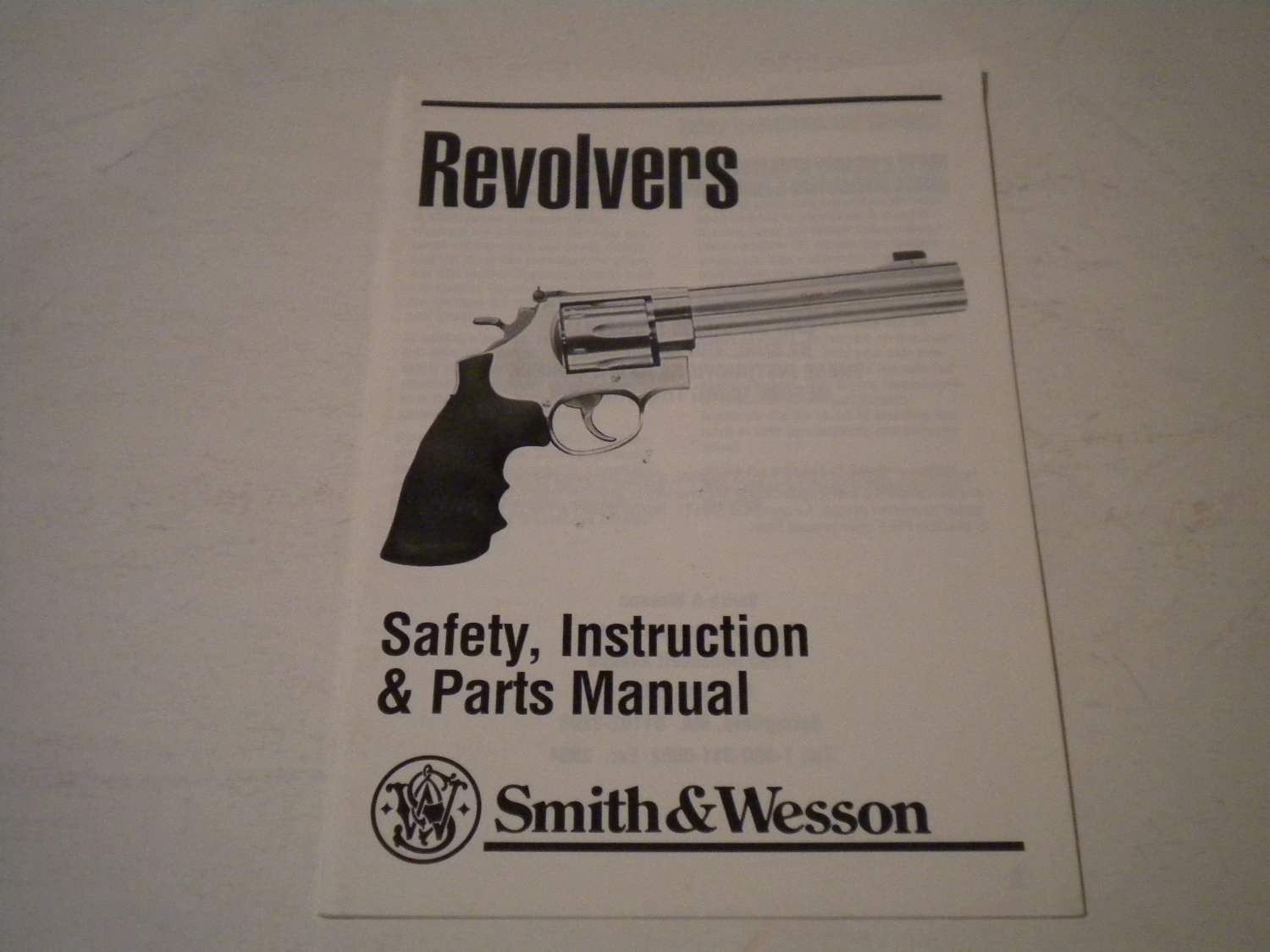Smith & Wesson Revolver Owner's Manual Owners Guide Owner