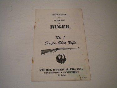 Ruger No. 1 Single Shot Rifle Owner's Manual, 1974, NICE!