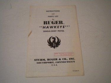 Ruger Hawkeye Pistol Owner's Manual, NICE!