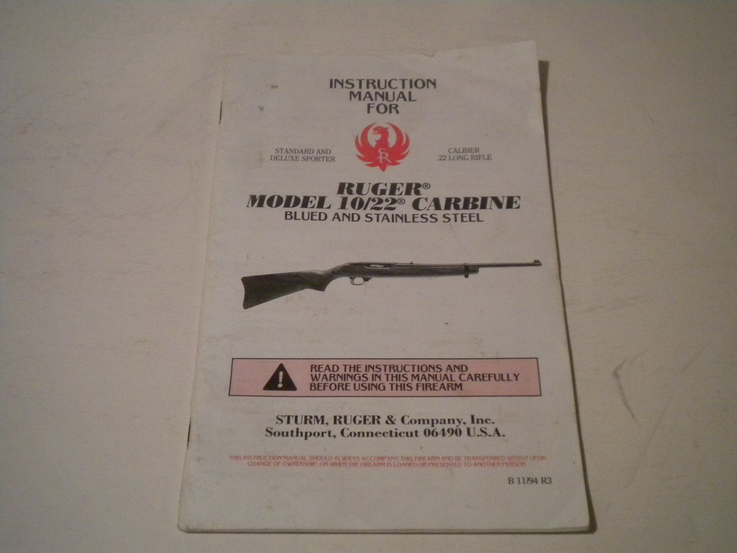 ruger 10 22 carbine owners manual 1994 nice rh bertandernies ecrater com ruger ranch rifle .223 manual Ruger 223 Ranch Rifle