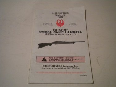 Ruger 10/22 Carbine Owners Manual, 1994, NICE!