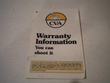 CVA Muzzle Loading Rifle Owner's Manual, 1992, NICE!