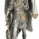 """St.Michael-Scales/Justice Statue, Pewter Finish, 11"""""""