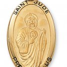 Gold over Sterling Silver Saint Jude Medal 24 inch Chain & Box
