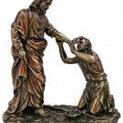 Christ Healing Blind Man Statue, Cold-Cast Bronze