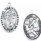 Sterling Silver Girls Saint Christopher Volleyball Medal