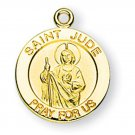 Gold over Sterling Silver Round Saint Joseph Medal