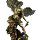 """St. Michael Statue, Cold-Cast Bronze,   14.5"""""""