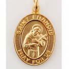 Gold over Sterling Silver Saint Francis Medal 18 inch Chain & Box