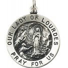 Sterling Silver 18.25mm Round Our Lady Of Lourdes Medal