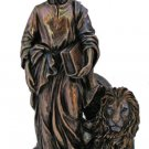 St. Mark With The Lion Statue, Cold Cast Bronze, 8""