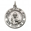 "Sterling Silver 18.5mm Sacred Heart Of Jesus 18"" Necklace"