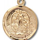 Gold over Sterling Silver Silver Guardian Angel Medal 18 inch Chain & Box