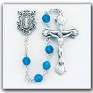 Sterling Silver Rosary made with Round Blue Opal Swarovski Crystals
