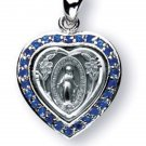 3/4 inch Sterling Silver Miraculous Medal - Heart Shaped Swarovski Sapphire