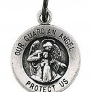 Sterling Silver 15mm Guardian Angel Medal