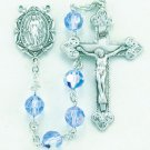 Sterling Silver Rosary made with Light Sapphire Swarovski Crystals