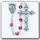 Sterling Silver Rosary made with Fuschia Swarovski Crystals