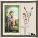 Silver Plate Rosary Amethyst/Crystal Beads/Prayer to St Joseph