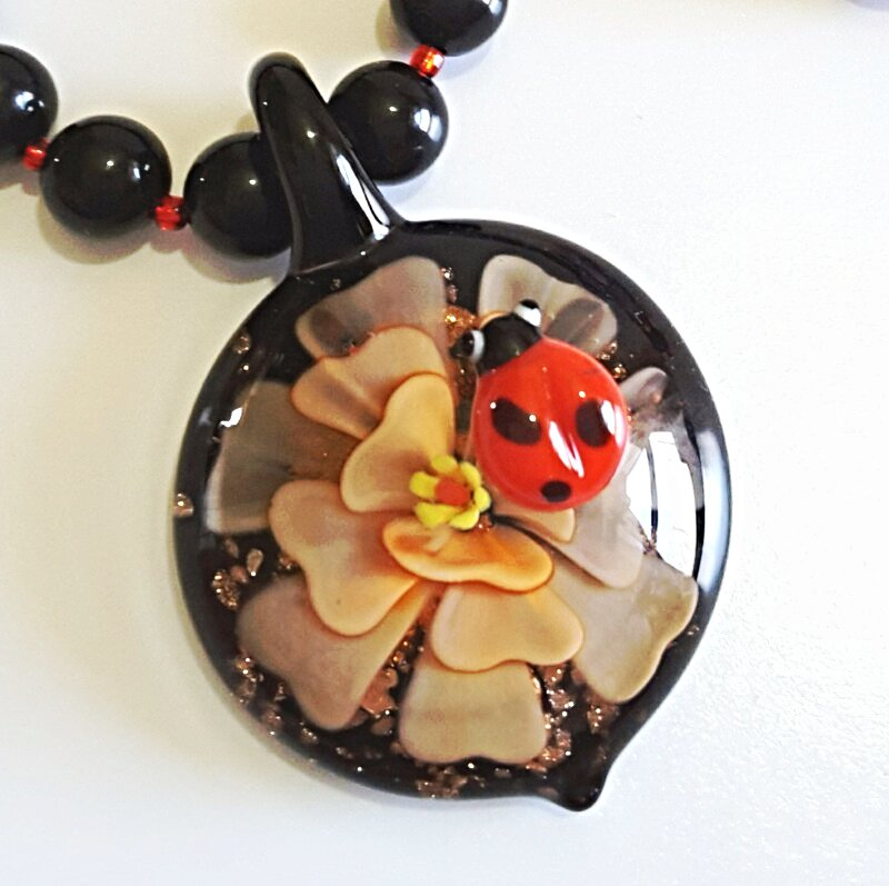 Black Onyx Necklace and Earrings Jewelry Set, Bold Flower Pendant with Lady Bug