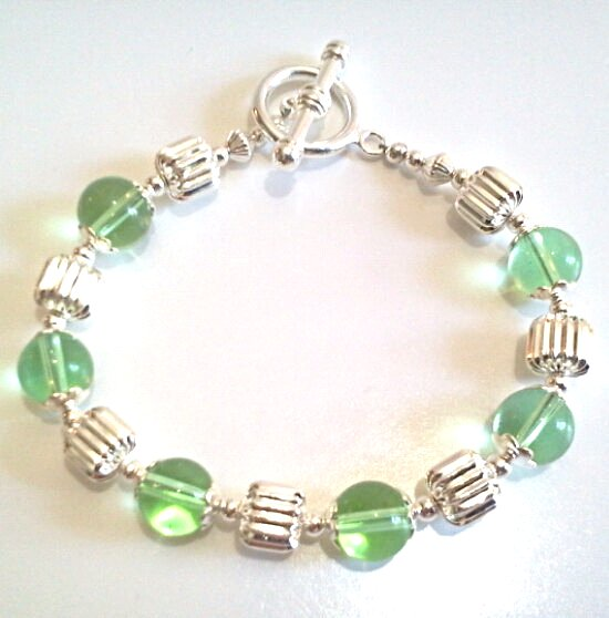 Green and Silver Bead Bracelet, Womens Colorful Statement Bracelet Handmade