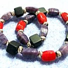 Handmade Bead Bracelet, Colorful  Stretch Bracelet, Red Blue Black Bead Jewelry