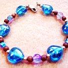 Bright Blue Glass Hearts Bracelet, Handmade Bracelet, Pink Crackle Glass Beads