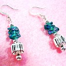 Blue Earrings, Aqua Green Dangle Earrings, Handmade Beaded Earrings