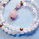 Handmade Rose Quartz Stone Necklace, Pink Carved Flower Pendant, Handmade