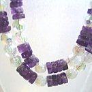 Handmade Purple Amethyst Stone Necklace, White Faceted Crystal Beaded Jewelry