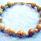 Natural Autumn Jasper Gemstone Bracelet, Autumn Bracelet, Fall Bead Jewelry