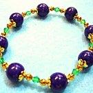 Purple Bracelet, Purple Stone Bead Jewelry, Emerald Green Crystals, Handmade
