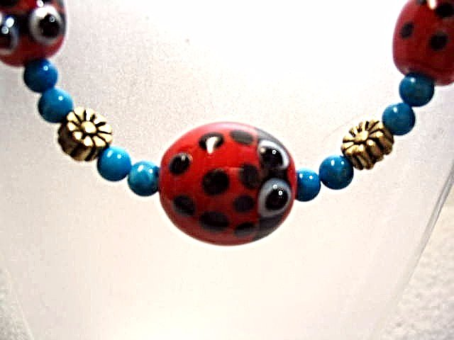 Lady Bug Bracelet, Turquoise Blue Beaded Bracelet, Cute Insect Jewelry, Handmade