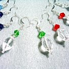 Faceted Crystal Earrings, Purple, Green, Blue, Red and Clear Crystal Jewelry Set