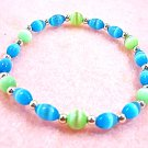 Neon Blue and Green Bracelet, Mystical Jewelry, Bright Colorful Stretch Bracelet