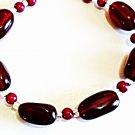 Black Cherry Red Bracelet, Dark Red Bead Jewelry, Bold Chuncky Beaded Bracelet