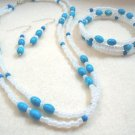 Blue and White Jewelry Set, Turquoise Blue Howlite and White Seed Bead Necklace