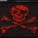 Jolly Roger Patch Red with Black outline