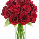 One dozen FRESH CUT RED ROSES delivered anywhere in Sacramento Metro for $35 : Includes a vase