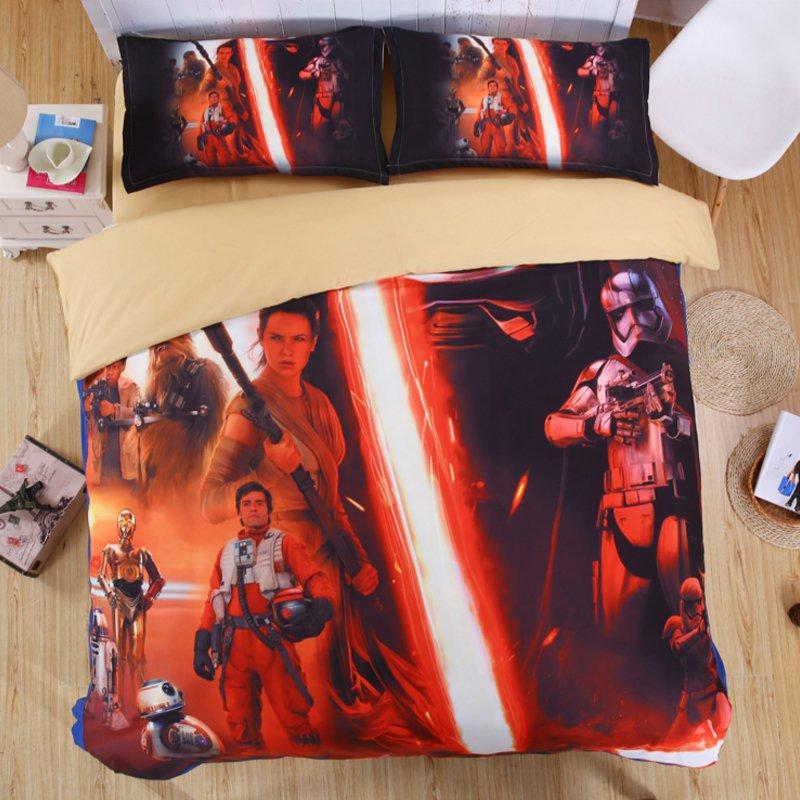 4pcs Queen Size Star Wars 03 Bedding Set Duvet Cover Flat