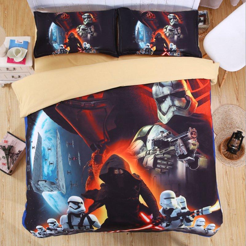 4PCS Star Wars QUEEN Size #06 Bedding Set Duvet Cover Flat Sheet 4 pcs